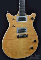 ingrosso chitarra solida fiammata-Custom G6131MY Malcolm Young II Acero fiammato naturale Top chitarra elettrica Doppio spaccato corpo solido, dorso marrone, sintonizzatori pickup cromati