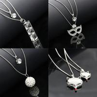 Wholesale Vintage White Sweater - Korean Crystal Long Sweater Chain Necklace for Women Ladies Vintage Accessary Rhinestone Pendant Animal Print Jewlery