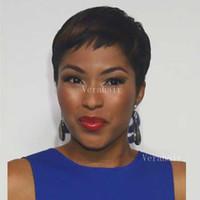 bakire brezilya afro peruk toptan satış-Chic Kısa Peri Kesim Katmanlı Insan Brezilyalı Saç Bob Peruk Afro-amerikan Bakire Tutkalsız Peruk Yok Dantel Peruk Siyah Kadınlar Için Sıcak Satış