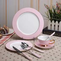 ingrosso set di piatti della cena della porcellana-Servizio da tavola di lusso 8pcs Set di stoviglie in ceramica europeo con piatti per cena, piatti per insalata SCT0199