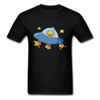 Wholesale personalized cat gifts online - Ufo Cartoon Cat Astronaut Tee Shirt Novelty Design Men Black T Shirt Short Sleeve Gift Tops Personalized