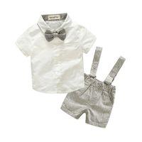 erkek askıları t-shirtler toptan satış-Yaz Tarzı Erkek Bebek Giyim Seti Yenidoğan Bebek Giyim 2 adet Kısa Kollu T-shirt + Jartiyer Gentleman Suit