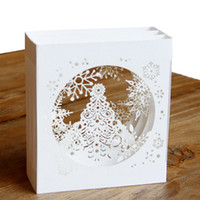 ingrosso nuove carte pop up-3d bianco natale neve biglietto di auguri pop up carta regalo Xmas greeting card bambini felice anno nuovo partito forniture