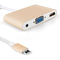Wholesale china output - Type C USB 3.1 Hub to VGA+HDMI Adapter+3.5MM Audio Output Converter for New MacBook Pro 13 15   Retina 12 Chromebook Silver Gold