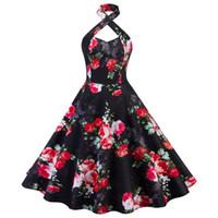 vestidos de cóctel rosa al por mayor-Mujeres Vintage Rose Print halter Zipper vestido de fiesta de alta calidad elegante una línea de cóctel vestidos DK4101SY