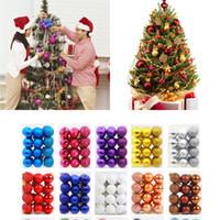 boules en plastique couleurs achat en gros de-60MM (2.36 '') boule de Noël 24 PCS / Lot brillant mat en plastique scintillant boule de Noël ronde boule de Noël ornement 15 couleurs
