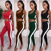 Wholesale cropped tight yoga pants online - Summer Sexy Women Tracksuits Solid Women Fashion Short Tank Crop With Side Striped Tight Skinny Long Pant pc Set