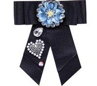 declaración de ropa al por mayor-Luxury Multilayer Bowknot Cloth Broches para Mujeres Clip Up Pins Rhinestone Bow Tie Charm Statement Nuevo Diseño de Joyas