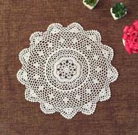 Wholesale Crochet Cup Placemat - Wholesale- 45CM DIY Crochet table place mat Placemat pad cloth round coaster cup lace cotton doily Pad mug mat kawaii kitchen accessories