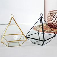 Wholesale wholesale glass terrariums - New Miniature Glass Terrarium Geometric Diamond Desktop Garden Planter For Indoor Gardening Home Decor Vases WX9-476