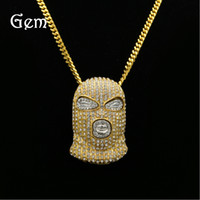 Wholesale black mask necklace - Men Gold Silver Plated Hip Hop Iced Out Bling Masked Man Figure Pendant Necklace with 70cm Cuban Link Chain Mens Jewelry#HOP