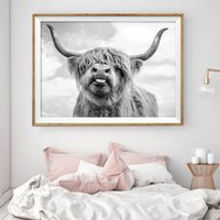 pinturas de los amantes desnudos al por mayor-Decoración nórdica Highland Vaca Ganado Arte de la pared Lienzo Póster e impresión Animal Cuadro de la lona para la sala de estar Decoración para el hogar