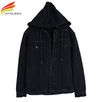 Wholesale Black Boyfriend Jacket - New 2018 Hooded Black Jean Jacket Women Boyfriend Denim Jacket Autumn Womens Jackets and Coats Single Breasted Jeans