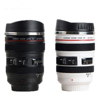 Wholesale camera coffee - 5 Generation Camera Lens Mug 400ml Creative Canon Portable Stainless Steel Tumbler Travel Vacuum Flask Milk Coffee Mug Novelty cups