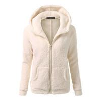 Wholesale ladies hoodie fleece jackets - Autumn Winter Women Hoodies Fleece Hooded Long Sleeve Zipper Thicken Coat Outwear Sudaderas Jacket Sweatshirts Lady