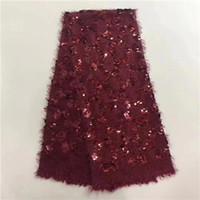 malla textil al por mayor-EPT1015 Tela Africana de Encaje de Alta Calidad Con Cuentas Nigeria Malla Bordado Lentejuelas 3d Tulle Textil Vestido de Fiesta Francés