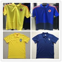 Wholesale Men Clothes Shirts - top quality 2019 spain football polo shirt Soccer Jerseys 18 19 Germany France soccer jersey Colombia polo Shirts Cotton casual clothes