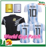 Wholesale Breathable Shirts - 2018 World Cup Argentina away Jersey Argentina MESSI DYBALA DI MARIA AGUERO HIGUAIN soccer shirt home national team Football jersey