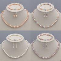 ingrosso venditore di braccialetto-8-9mm Collana di perle coltivate Akoya naturali + bracciale + orecchini Set di gioielli Informazioni sul venditore