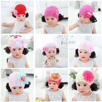 Wholesale dhl lace wigs - 2018 spring new flower lace wig cap jewelry Hair Accessories Headband Hair Pins fashion baby girl princess hat headdress DHL wholesale