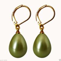 coquillages verts achat en gros de-Boucles d'oreille avec crochet de 18KGP véritables perles de mer du Sud véritables vertes 12x16mm