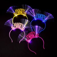 Wholesale Disco Party Supplies Wholesale - Happy New Year Shaped LED Blinking Flashing Fiber Headband Disco Toys Christmas New Year Glow Party Supplies wen5101