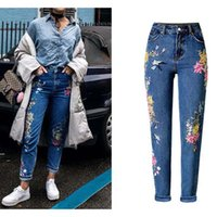 Wholesale Vintage Fashion Clothing Ladies - New Fashion Clothes Women Denim Pants Straight Long Jeans Pants 3D Flowers Embroidery High Waist Ladies Jeans Legging Trousers