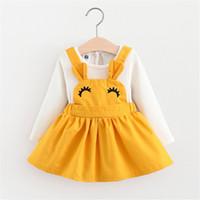 vestidos de cumpleaños para niños al por mayor-Vestido de niña princesa otoño vestido sólido boda niños vestidos de fiesta diseños de vestido de bebé bautizo 1 año regalo de cumpleaños