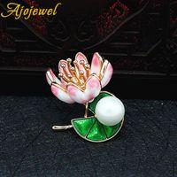 ingrosso pittura di smalto dei monili-Ajojewel Beautiful Colorful Painting Lotus Flower Simulato Perla Spilla Pins Smalto stile cinese gioielli da donna