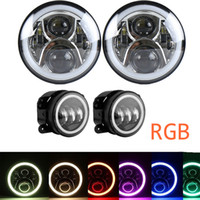Wholesale 4.7 inch cell phone for sale - Group buy 7 Inch RGB Halo Cree LED Round Multi Color Headlights Pair Inch RGB Halo Cree LED Fog Lights for Jeep Wrangler JK TJ Cell Phone APP Blue