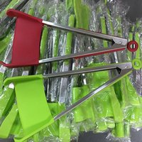 Wholesale heating grips - 2-in-1 Clever Spatula Tong Kitchen Spatula Tongs Non-stick Heat Resistant Food Clip Grip Stainless Steel Accessories Free DHL WX9-451