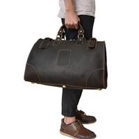 grande saco marrom escuro venda por atacado-Luufan Travel Bag Versátil Vintage Castanho Escuro Grande Capacidade de 17 '' Viagem de Negócios PC Viagem Conveniente Durável Genuine Le