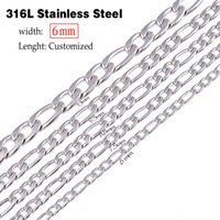 Wholesale Christmas Swags - 6mm(width) stainless steel figaro necklace statement swag punk long necklace chain vintage men jewelry lenght customized