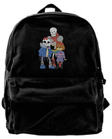 Wholesale video games for girls online - Untertale Papyrus Art Sans Video Game Cartoon Fashion Canvas Shoulder Backpack Backpack For Men Women Teens College Travel Daypack Black