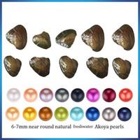 akoya graue perlen großhandel-2018 neue Akoya Qualität billig Liebe Süßwasser Shell Perlmuschel 6-7mm rot grau hellblau Perlmuschel mit Vakuumverpackung A-0050
