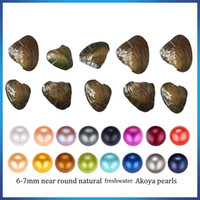 Wholesale circle shell - 2018 new Akoya High quality cheap love freshwater shell pearl oyster 6-7mm red gray light blue pearl oyster with vacuum packaging A-0050