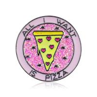 mochilas rosa venda por atacado-TUDO QUERO É PIZZA Rodada Rosa Broche Pinos Para O Pano Das Mulheres Chapéu Mochila Emblema lapela Pin Estilo Punk Moda Jóias Bling Broche Atacado