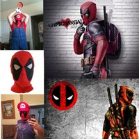Wholesale men for superhero cosplay online - New style Deadpool Masks Head Cover Hood Superhero Cosplay Masks Party Headwear Bow Cap Full Mask For Men Kids T5I118