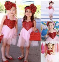 Wholesale Toddler Tutu Dress Sequins - Baby girls romper dress 2018 New toddler kids red sequins love heart princess dress Valentine's Day kids backless tulle tutu dress T3843