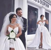 vestidos de novia cortos e hinchados al por mayor-Dijo Mhamad 2019 una línea de vestidos de novia de encaje de satén con tren desmontable puffy vestidos de novia saudí árabe Dubai vestidos de novia cortos