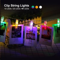 foto clip string großhandel-1,5 Mt 3 Mt 6 Mt Foto Clip Halter LED Lichterketten Für Weihnachten Neujahr Party Hochzeit Dekoration Lichterkette Batterie