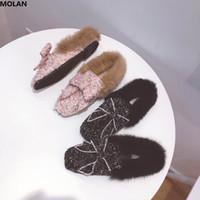 rosa kristall schmetterling großhandel-MOLAN Marke Designer 2018 Mode Luxus Kristall Schmetterling-Knoten Frau Wohnungen Schuhe pelzigen Folien weiches Haar Slip auf Loafers Mules