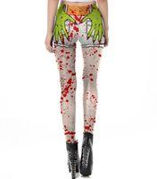 Wholesale woman movie cosplay costume for sale - Halloween Women High Waist Leggings Cosplay Costume Human Organ Skeleton Frame Print Blood Pattern Tight Full Length Pants