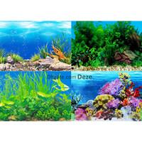 ingrosso sfondi del serbatoio dell'acquario-1Pc 40 centimetri alto 9 modelli Aquarium background poster Double Sided Fish Tank Wall Background Immagine Immagine Arredamento lucida 1 Metro