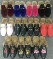 ingrosso nuove pantofole per l'inverno-Brand New Men Princetown in pelle di grandi dimensioni da uomo Slipper con pelliccia in pelle scamosciata di velluto Inverno Slipper Mocassini piatta EUR38-46 con scatola