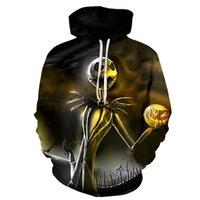 uzun kollu kafatası hoodies toptan satış-3D Baskı Geceden Önce Noel Jack Skellington Kafatası Tişörtü Uzun kollu + şapka kahverengi Hoodies Eşofman 6XL
