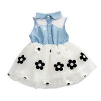 vestido de tutú de tul de mezclilla al por mayor-Baby Girl Dress Denim Top sin mangas vestido de princesa para niña Tulle Tutu Mini Summer