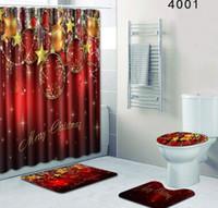 portas de chuveiro de banho venda por atacado-Conjunto de Cortina de Chuveiro de Natal com Esteira de Assento Tapete de Poliéster Cortina de Banho À Prova D 'Água Antiderrapante Mat Porta Tapete