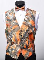ingrosso nuovo vestito arancione di nozze-2018 Nuovo arrivo Airtailors Moda Camo Vest per abito da sposa mimetico rustico da uomo Plus size colore arancione