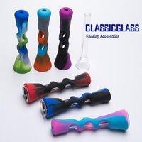 ingrosso sigaretta mini tubo-Mini tubo mano in silicone con tubo di vetro Colorful tubi in silicone Herb Smoking Pipes Filtro per sigarette Mini bong